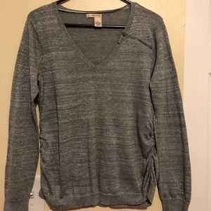DKNY Sweater Medium Lightweight Ruched Sides Nice!